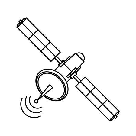 Communications satellite signal transmission technology vector illustration Illustration