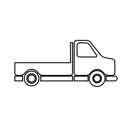 size: Pick-up truck classic truck cargo transport line vector illustration Illustration