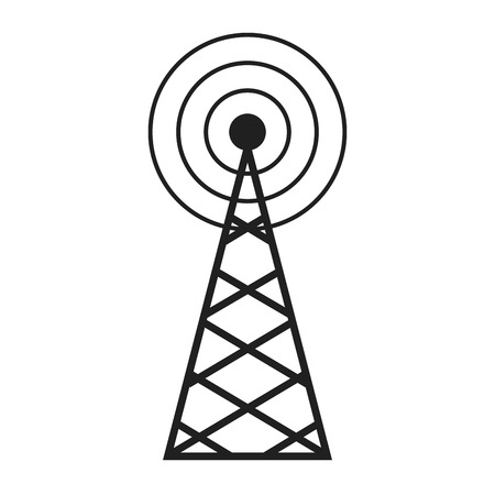 cell phone transmitter tower: Radio, antenna sending signal icon. wireless technology. vector illustration. Illustration