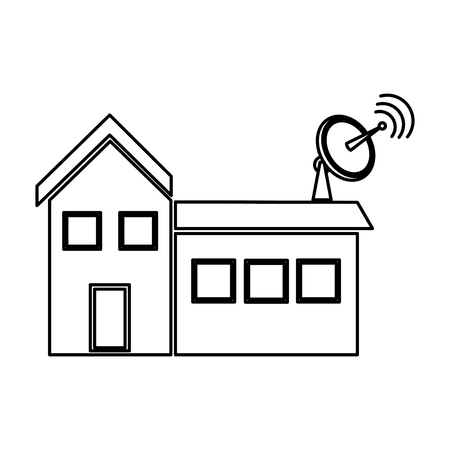 satellite dish and antenna tv on the house roof vector illustration Illustration