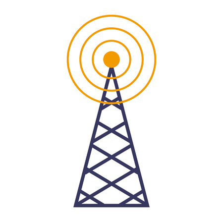 wireless tower with radio waves communication vector illustration