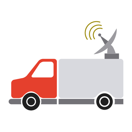 red truck antenna communication broadcast signal vector illustration
