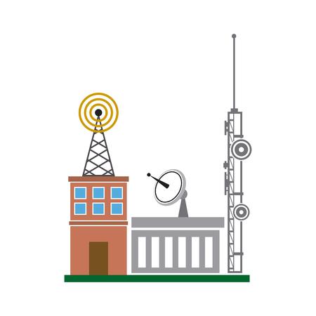 broadcasting building dish antenna tower wireless vector illustration Illustration