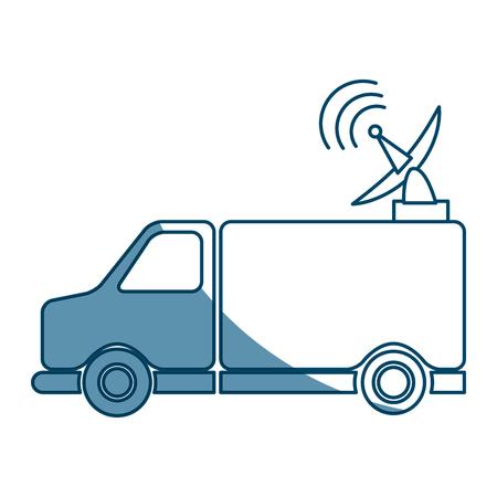Antenne de camion Communication Signal de radiodiffusion Illustration vectorielle