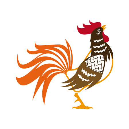 rooster. symbol the chinese calendar. cock design template. vector illustration Illustration