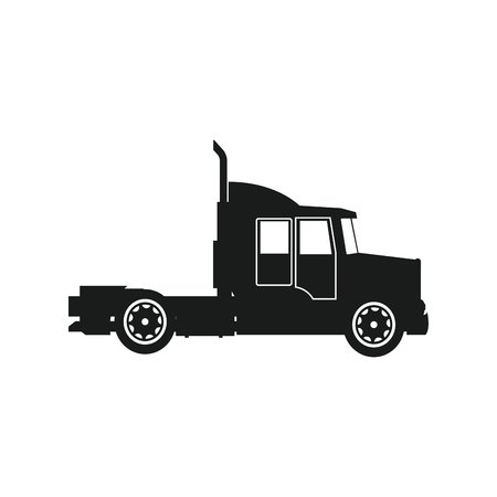 chassis: Semi trailer truck transportation isolated on white background. vector illustration Illustration
