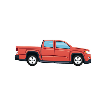 Red pickup truck vehicle transport vector illustration