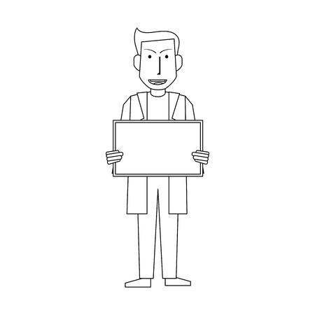 male medical doctor holding blank sign  icon image vector illustration design