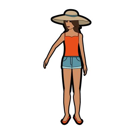 pretty happy woman wearing big sun hat tank top and shorts icon image vector illustration design Vektoros illusztráció