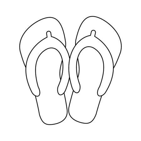 beach party: flip flops icon image vector illustration design  single black line