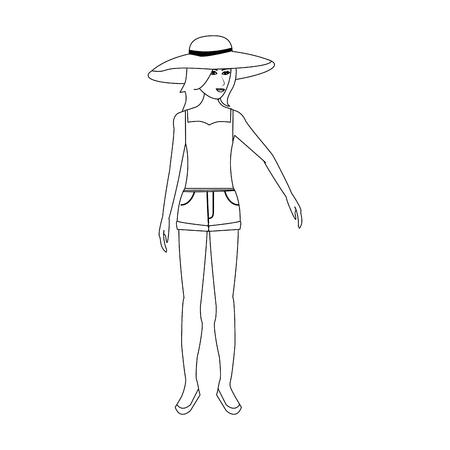 pretty happy woman wearing big sun hat tank top and shorts icon image vector illustration design single black line