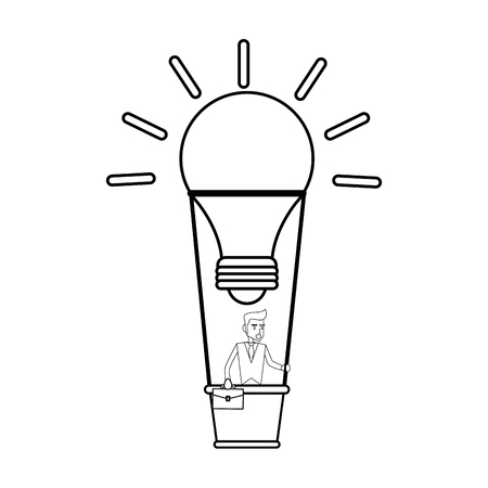 briefcase: young businessman on hot air balloon in lightbulb shape idea concept icon image vector illustration design  single black line