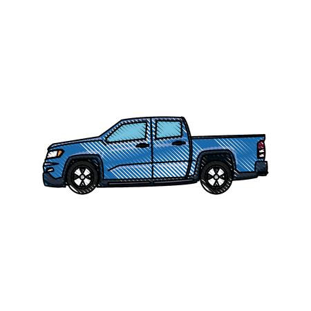pickup truck vehicle transport side view vector illustration