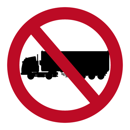exit sign icon: prohibited truck container transport design vector illustration