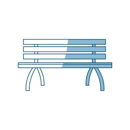 wooden standard bench, place for sitting outline vector illustration