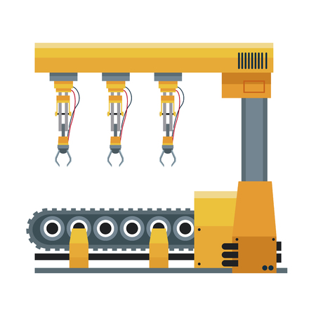 computer controlled automated manufacturing process, industrial robot in packaging line Illustration