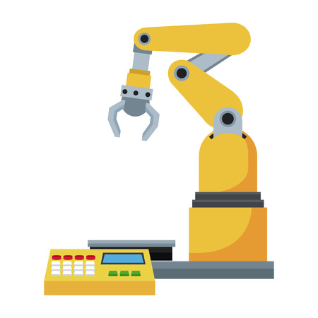 automated: computer controlled automated manufacturing process, industrial robot in packaging line Illustration