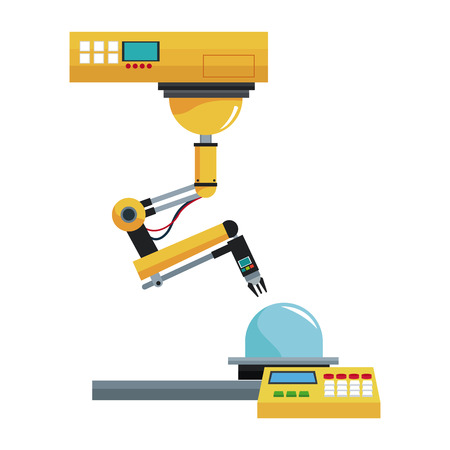 detection: artificial intelligence machine at industrial manufacture factory Illustration