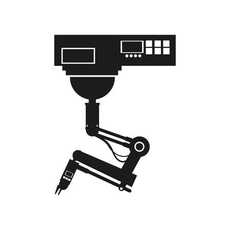 Bouton de la main du robot parmi un ensemble de boutons. utilisation de l'intelligence artificielle et illustration vectorielle de robotique Banque d'images - 78061731