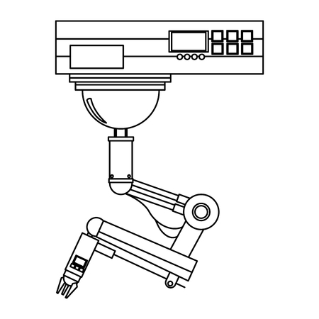 activate: robot hand button among a set of buttons. use of artificial intelligence and robotics vector illustration Illustration