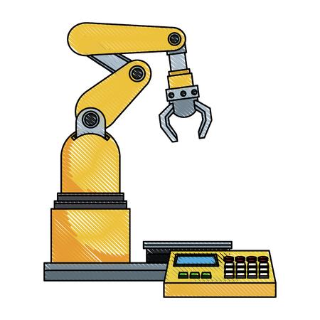 digital controller for robot in factory. smart factory industry vector rillustration Illustration