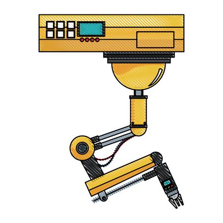 Bouton de la main du robot parmi un ensemble de boutons. utilisation de l'intelligence artificielle et illustration vectorielle de robotique Banque d'images - 78061786