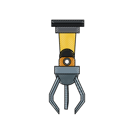 industrial robot arm for assembly machines, manipulator with finger clamp vector illustration