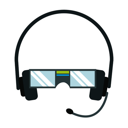 vr glasses headset microphone technology vector illustration Illustration