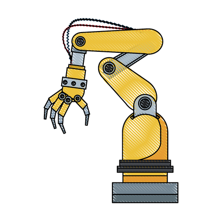 arm hand cyber machine industry vector illustration