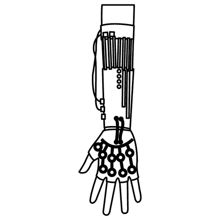 microcontroller: Virtual reality. Engineer working in virtual gloves. Microcontrollers connected to the fingers of engineer