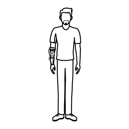 guy wearing vr headset - virtual reality glasses concept vector illustration flat style