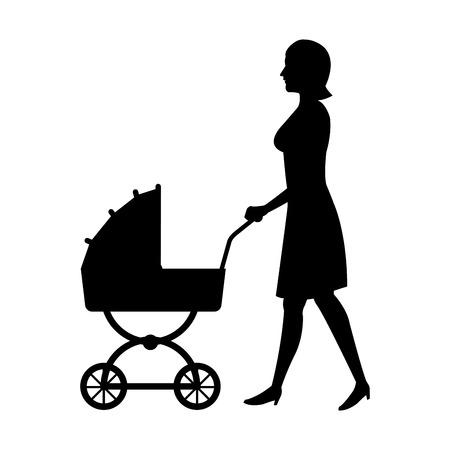 femme, à, bébé, landau, silhouette, vecteur, Illustration