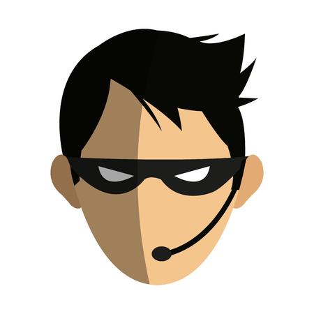 laptop: male hacker icon image vector illustration design