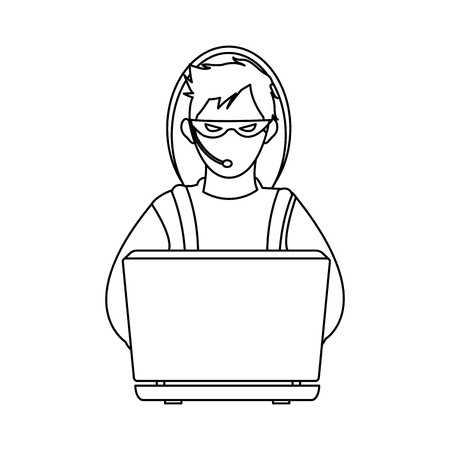 pc icon: male hacker icon image vector illustration design  single black line Illustration