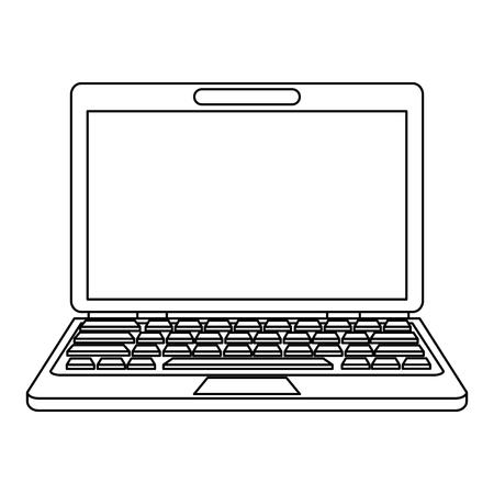 flat screen tv: laptop computer icon image vector illustration design  single black line