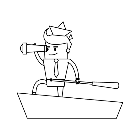cartoon businessman with origami ship on head telescope and boat captain icon image vector illustration design  single black line 向量圖像