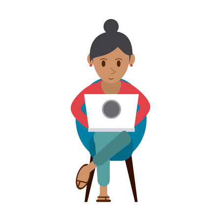 laptop: person using laptop computer icon image vector illustration design Illustration