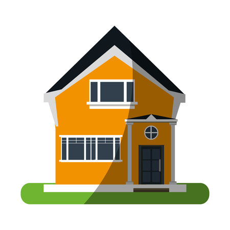 pretty family house surrounded by lawn icon image vector illustration design Illustration