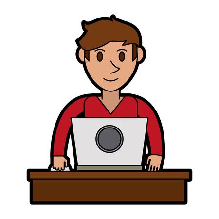 flat screen tv: person using laptop computer icon image vector illustration design Illustration