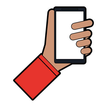 hand holding cellphone icon image vector illustration design