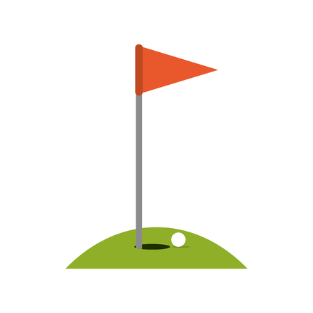 recreational: hole ball and flag golf related icon image vector illustration design Illustration