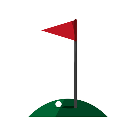 dimple: hole ball and flag golf related icon image vector illustration design Illustration