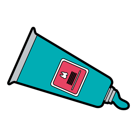 Tooth paste dental care related icon image vector illustration design
