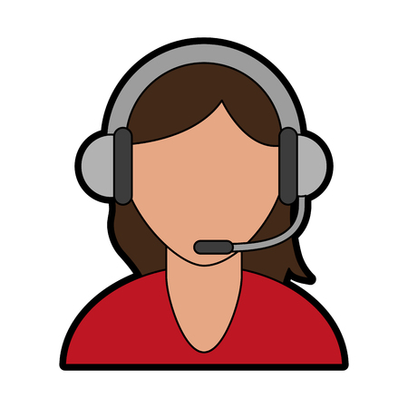 person with headset ecommerce or customer service icon image vector illustration design