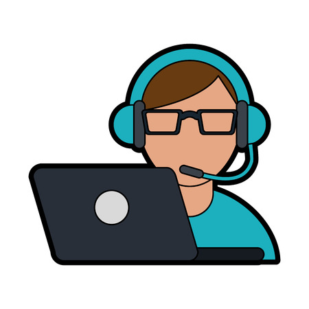 person with headset and laptop ecommerce or customer service icon image vector illustration design