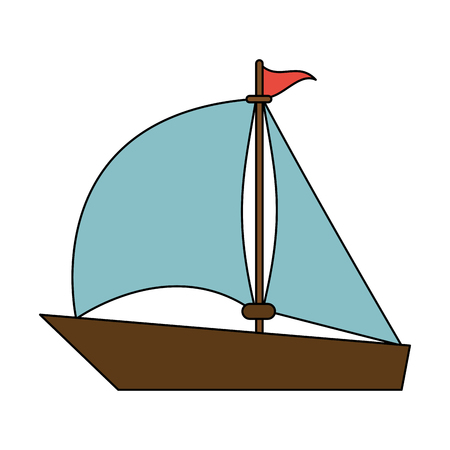 color image wooden boat with sail vector illustration