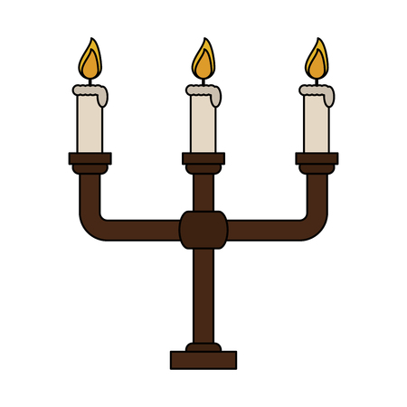 beeswax: color image candlestick with base and candles vector illustration