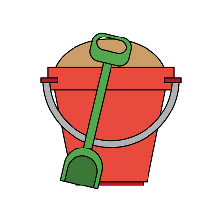 color image bucket with sand and shovel vector illustration Illustration
