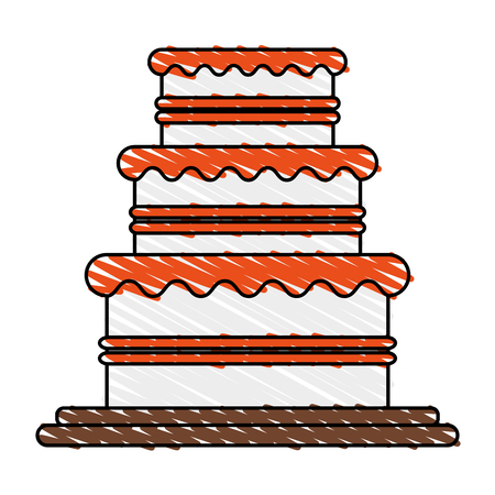 color crayon stripe image wedding cake with cream vector illustration