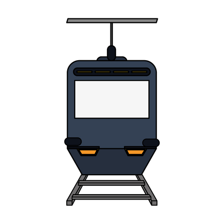 color image funicular cable railway vector illustration